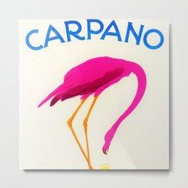 Vintage Carpano Pink Flamingo Motif Vermouth Advertisement Poster Metal Print