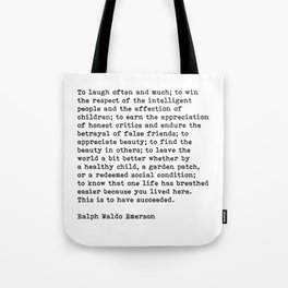 To Laugh Often And Much, Success, Ralph Waldo Emerson Quote. Tote Bag