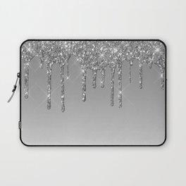 Gray & Silver Glitter Drips Laptop Sleeve
