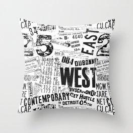 East West Grunge Distressed black white #urban typography Throw Pillow