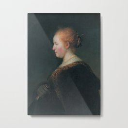 A Young Woman in Profile, with a Fan Metal Print