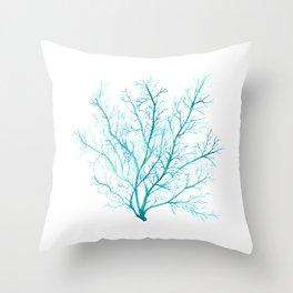 Blue sea fan coral Throw Pillow