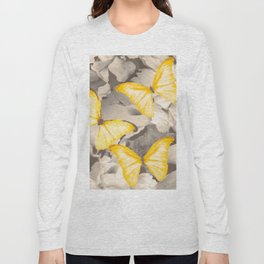 Yellow Butterflies on Dark Floral Background #decor #society6 #buyart Long Sleeve T-shirt