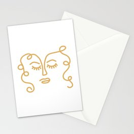 Curly Hair Don't Care - Minimalist Line Drawing Portrait of a Woman in Mustard Yellow on White Stationery Cards