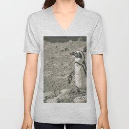 Black and White African Penguin - Photography #Society6 Unisex V-Neck