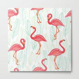 Flamingo Seamless Pattern Metal Print