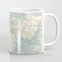 World Map in Blue and Cream Kaffeebecher