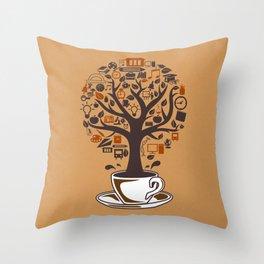 Coffee Tree Throw Pillow