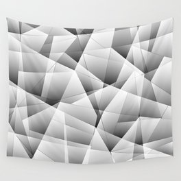 Exclusive light monochrome pattern of chaotic black and white fragments of glass and ice floes. Wall Tapestry