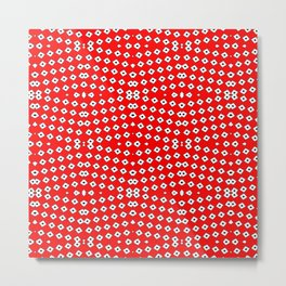 Red Background, White Diamond and Black Spots 2 Metal Print
