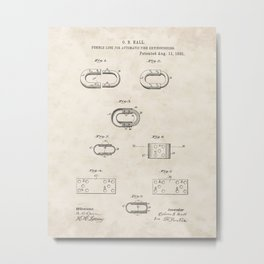 Fusible Link for Automatic Fire Extinguishers Vintage Patent Hand Drawing Metal Print