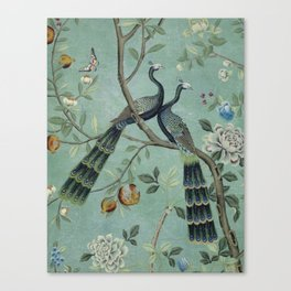 A Teal of Two Birds Chinoiserie Leinwanddruck