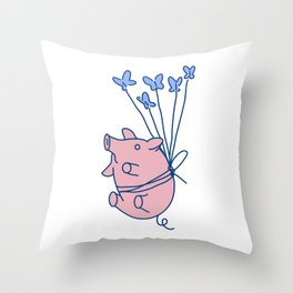 pig with balloons Throw Pillow