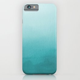 Aqua Teal Turquoise Watercolor Ombre Gradient Blend Abstract Art - Aquarium SW 6767 iPhone Case