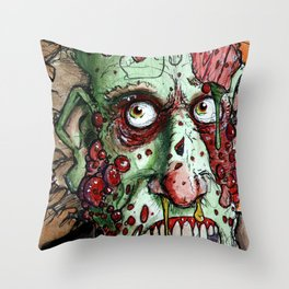 snot nosed boil zombie Throw Pillow