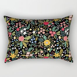 Amazing floral pattern with bright colorful flowers, plants, branches and berries on a black backgro Rectangular Pillow