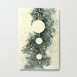 Electron / Abstract Art / Stippling / Drawing / Psychedelic Art Metal Print