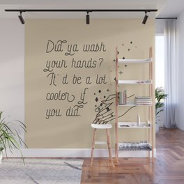 Wash Your Hands in Black & Mauve Wall Mural