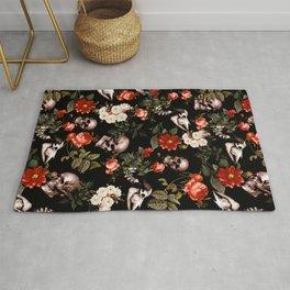 Floral and Skull Dark Pattern Rug