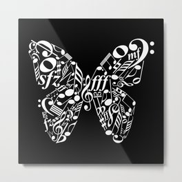 Invert music butterfly Metal Print