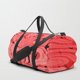 Acrylic mirror stains on delicate marble dust with pastel red ink. Duffle Bag