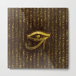 Golden Egyptian Eye of Horus  and hieroglyphics on wood Metal Print