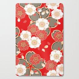 Japanese Vintage Red Black White Floral Kimono Pattern Cutting Board