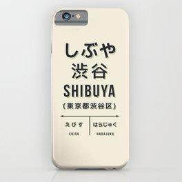 Vintage Japan Train Station Sign - Shibuya Tokyo Cream iPhone Case
