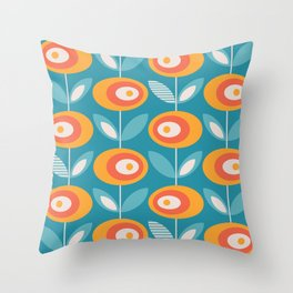 Mid Century Modern Flowers Throw Pillow