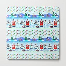 Christmas, Holiday Fantasy Santa Block Party 2 Metal Print