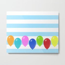 Balloons on striped background Metal Print
