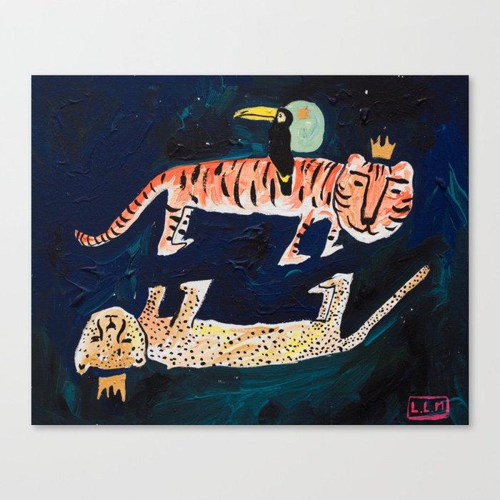 Tiger, Cheetah, Toucan Painting Leinwanddruck