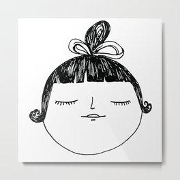 Asian Girl with Top Knot Metal Print