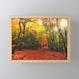 Serene Autumn Forest landscape Framed Mini Art Print