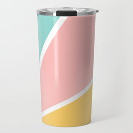 Tropical summer pastel pink turquoise yellow color block geometric pattern Travel Mug