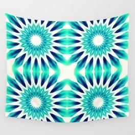 Pinwheel Flowers Turquoise Teal Watercolor Wall Tapestry