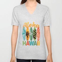 Retro Hawaiian Surfboard Aloha Hawaii Unisex V-Neck