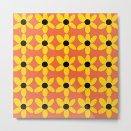 Black Eyed Susan On Coral Metal Print