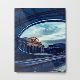 Union Station // Downtown Denver Travel & Train Station Retro Red Sign City Scape Photography Metal Print