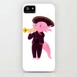 Axolotl with mariachi costume playing the trumpet, Digital Art illustration iPhone Case
