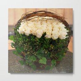 Roses in Ivy Metal Print