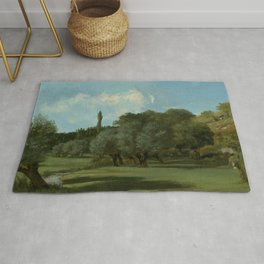 "Gustave Courbet ""La Bretonnerie in the Department of Indre"" Rug"