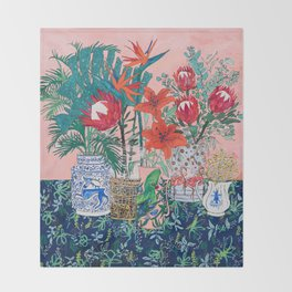 The Domesticated Jungle - Floral Still Life Throw Blanket