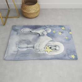 Poodle and the stars. Blue night Rug