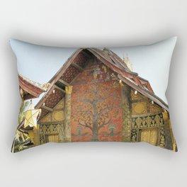 Decorated Pavilion at the Buddhist Xieng Thong Temple, Laos Rectangular Pillow