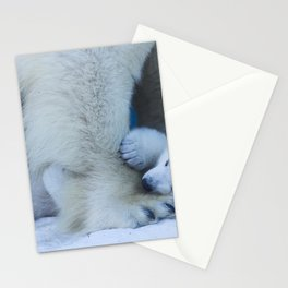 Bear cub plays with mom's paw polar bear. Funny animal close-up Stationery Cards