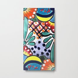 Colorful Talavera, Yellow Accent, Mexican Tile Design Metal Print