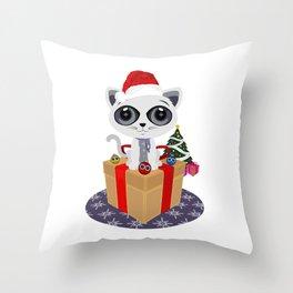 Christmas - Kitten Throw Pillow