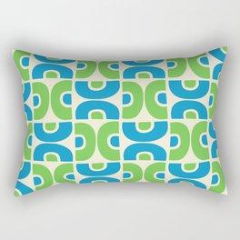 Groovy Mid Century Modern Pattern Blue Green Rectangular Pillow
