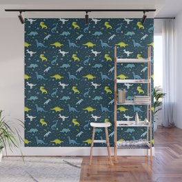 Space Dinosaurs in Bright Green and Blue Wall Mural